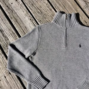 Polo Ralph Lauren Boys Zip Neck Sweater Gray SZ 14